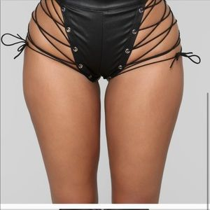 Pants - Lace Up Faux Leather Booty Short Black #NWT - #D7